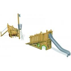 Bateau en bois de robinier