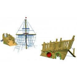 Bateau aire de jeux en bois de robinier