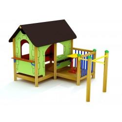 Cabane avec terrasse pour enfants de 3 à 12 ans
