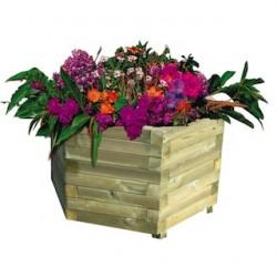 Jardinière bois hexagonale