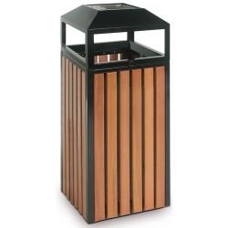 Corbeille cendrier aspect acier bois ouverture péripherique 70 litres