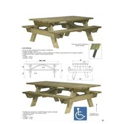 Table pique-nique bois PMR (accès fauteuil roulant) avec système antivol