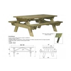 Table pique-nique bois ADULTE avec système antivol