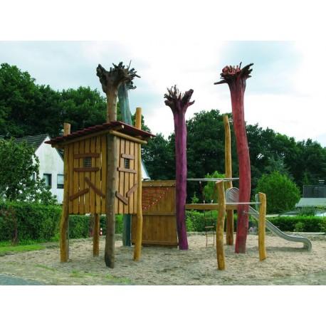 aires de jeux cabane sur pilotis en bois de robinier. Black Bedroom Furniture Sets. Home Design Ideas
