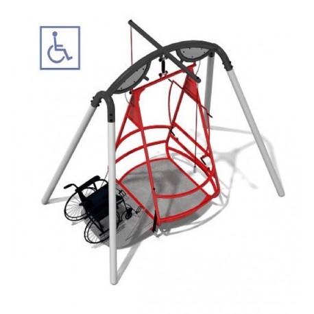 Portique balançoire PMR accessible aux fauteuils roulants