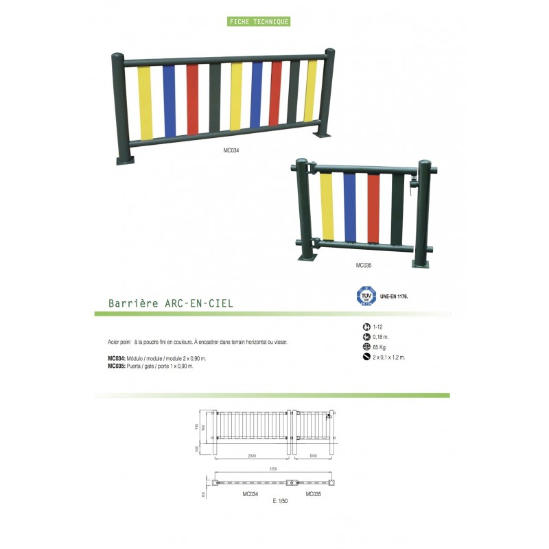 Barri re m tallique pour aires de jeux for Barriere de jardin metallique