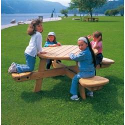 Table pique nique ronde 4 places