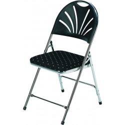 Lot de 50 chaises de spectacle chromées finition tissus noir à motifs