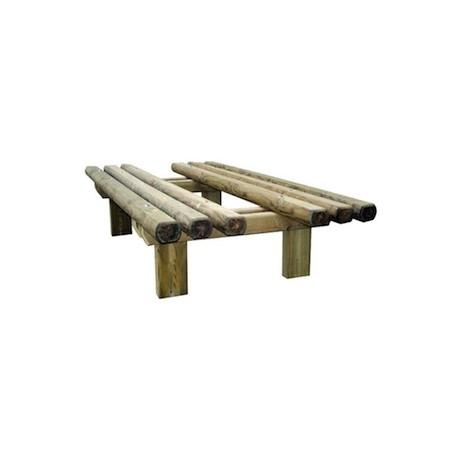 Banquette double en rondins de bois brut