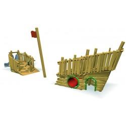 Bateau des enfants en bois de robinier