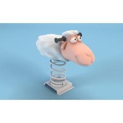 Mouton blanc 3D fabrication artisanale jeu sur ressort