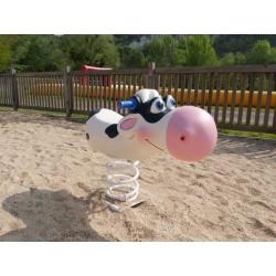 Vache 3D fabrication artisanale jeu sur ressort