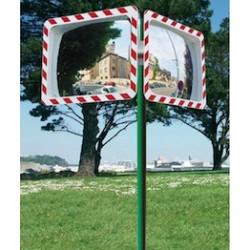 Poteau pour miroir de voirie
