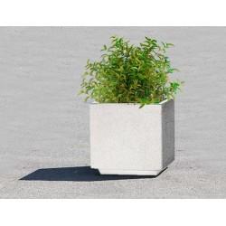 Lot de 4 jardinières en béton préfabriqué blanc : 58 x 58 x h 58 cm