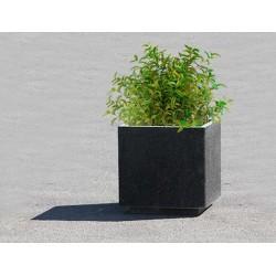 Lot de 4 jardinières en béton préfabriqué noir : 58 x 58 x h 58 cm