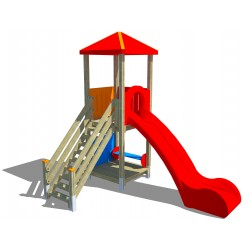 Tour 2 plateformes avec toboggan et escalier