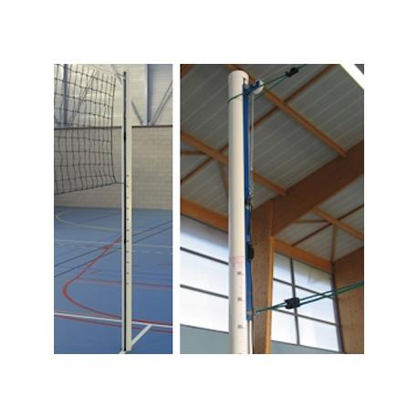 Paire de poteaux de volley aluminium scolaire à cabestan