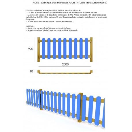 Barrière en bois et polyéthylène