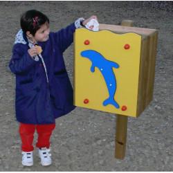 Corbeille daupin pour école maternelle (sur poteau)