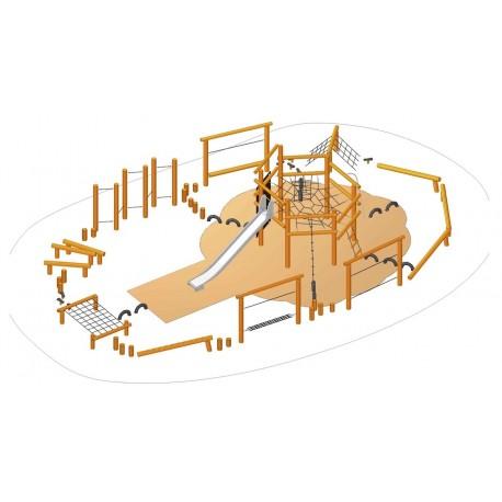 Le parcours complet en bois de robinier avec toboggan