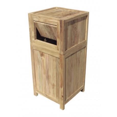 Corbeille robuste en bois de teck naturel 50 L