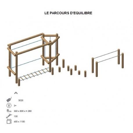 Parcours d'équilibre en bois de robinier