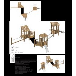 Aires de jeux pour les enfants modèle N°1 en bois de robinier bio