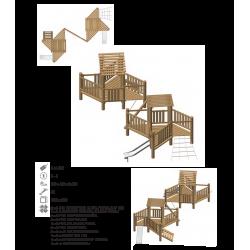 Airs de jeux en bois de robinier modelé 2 pour enfant de 1 à 4 ans