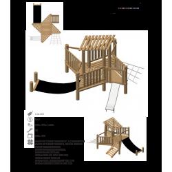 Airs de jeux en bois de robinier modelé 3 pour enfant de 1 à 4 ans