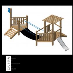 Airs de jeux en bois de robinier modelé 3A pour enfant de 1 à 4 ans