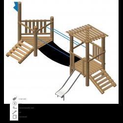 Airs de jeux en bois de robinier modelé 3C pour enfant de 1 à 4 ans