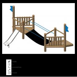 Airs de jeux en bois de robinier modelé 3D pour enfant de 1 à 4 ans