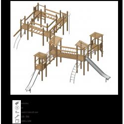 Airs de jeux en bois de robinier modelé 4 pour enfant de 1 à 4 ans