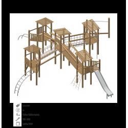 Airs de jeux en bois de robinier modelé 5 pour enfant de 1 à 4 ans