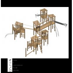 Aire de jeux pour les enfants modèle N°6 en bois de robinier