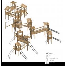 Airs de jeux en bois de robinier modelé 7 pour enfant de 1 à 4 ans