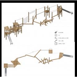 Airs de jeux en bois de robinier modelé 8 pour enfant de 1 à 4 ans