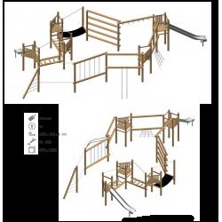 Airs de jeux en bois de robinier modelé 9 pour enfant de 1 à 4 ans