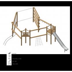 Airs de jeux en bois de robinier modelé 10 pour enfant de 1 à 4 ans