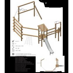 Airs de jeux en bois de robinier modelé 11 pour enfant de 1 à 4 ans