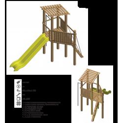Airs de jeux en bois de robinier modelé 12 pour enfant de 1 à 4 ans