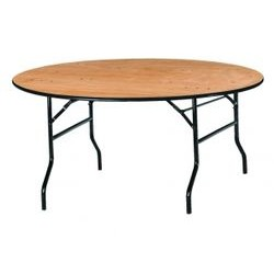 Table ronde en bois multiplis verni