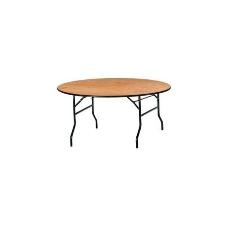 Table ronde en bois multiplis verni