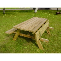 Lot de 2 tables pique-nique bois robuste