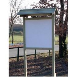 Panneau d'affichage bois avec plaque en compact avec toit (130 cm x 130 cm)