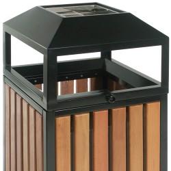 Corbeille cendrier aspect bois ouverture périphérique 90 litres