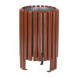 Corbeille en bois exotique 40 L avec seau galvanisé