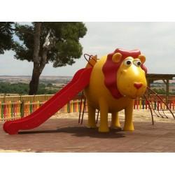 """Structure de jeux """"lion et toboggan avec mât de pompier"""""""
