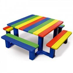 Table pique-nique pour école maternelle arc-en-ciel ou monochrome