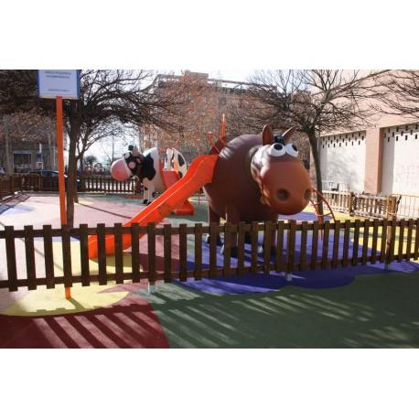 """Structure de jeux """"cheval et toboggan avec mât de pompier"""""""